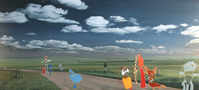 I walk across sea and land and there i met a strange old man, Oil On Canvas, 150 x 300 cm