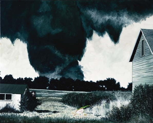 Belphegor and the killer tornado of ruskin heights, Oil On Canvas, 80 x 100 cm