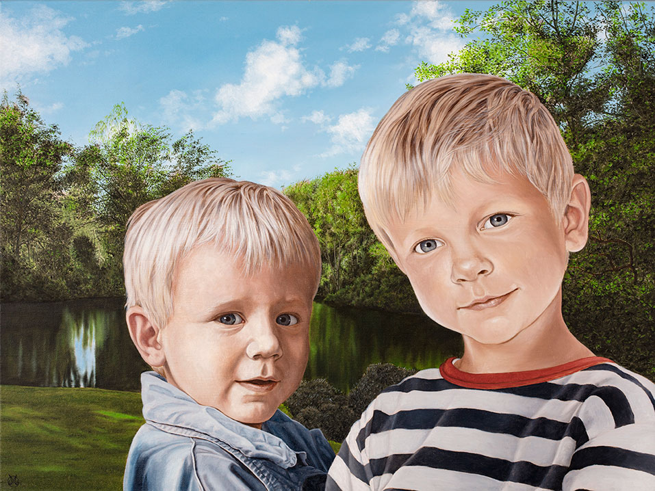 Børnebørnene i haven, sommer, Oil On Canvas, 80 x 100 cm