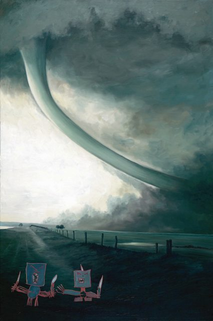 Cordel tornado, in a sinuos stag, Oil On Canvas, 150 x 100 cm