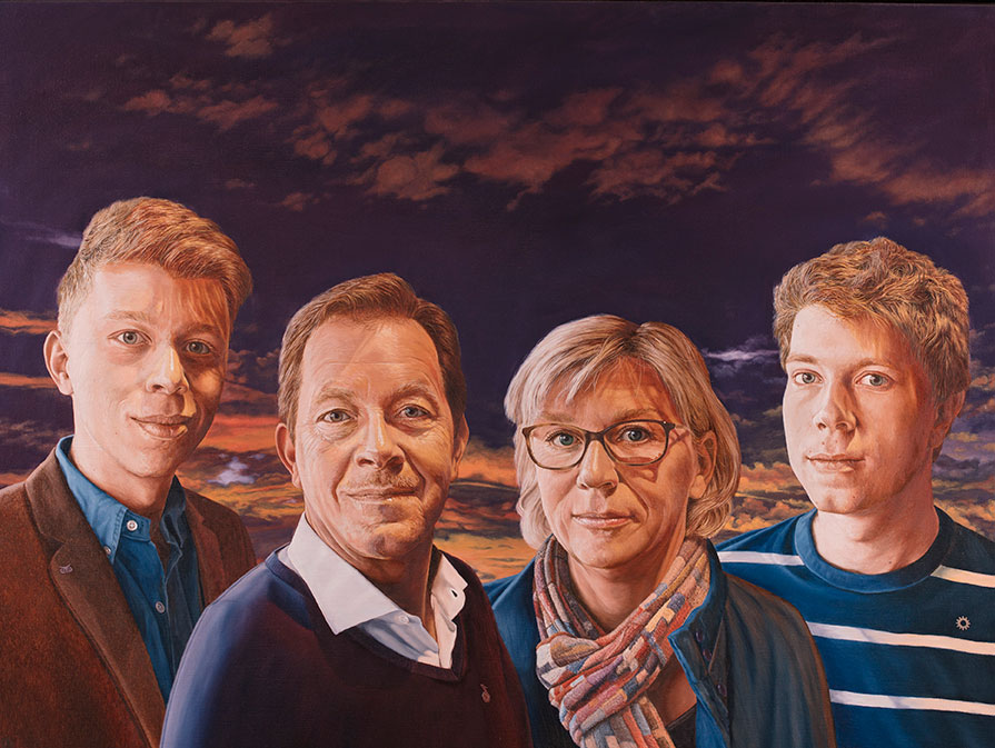 Familien Brøgger, Oil On Canvas, 90 x 110 cm